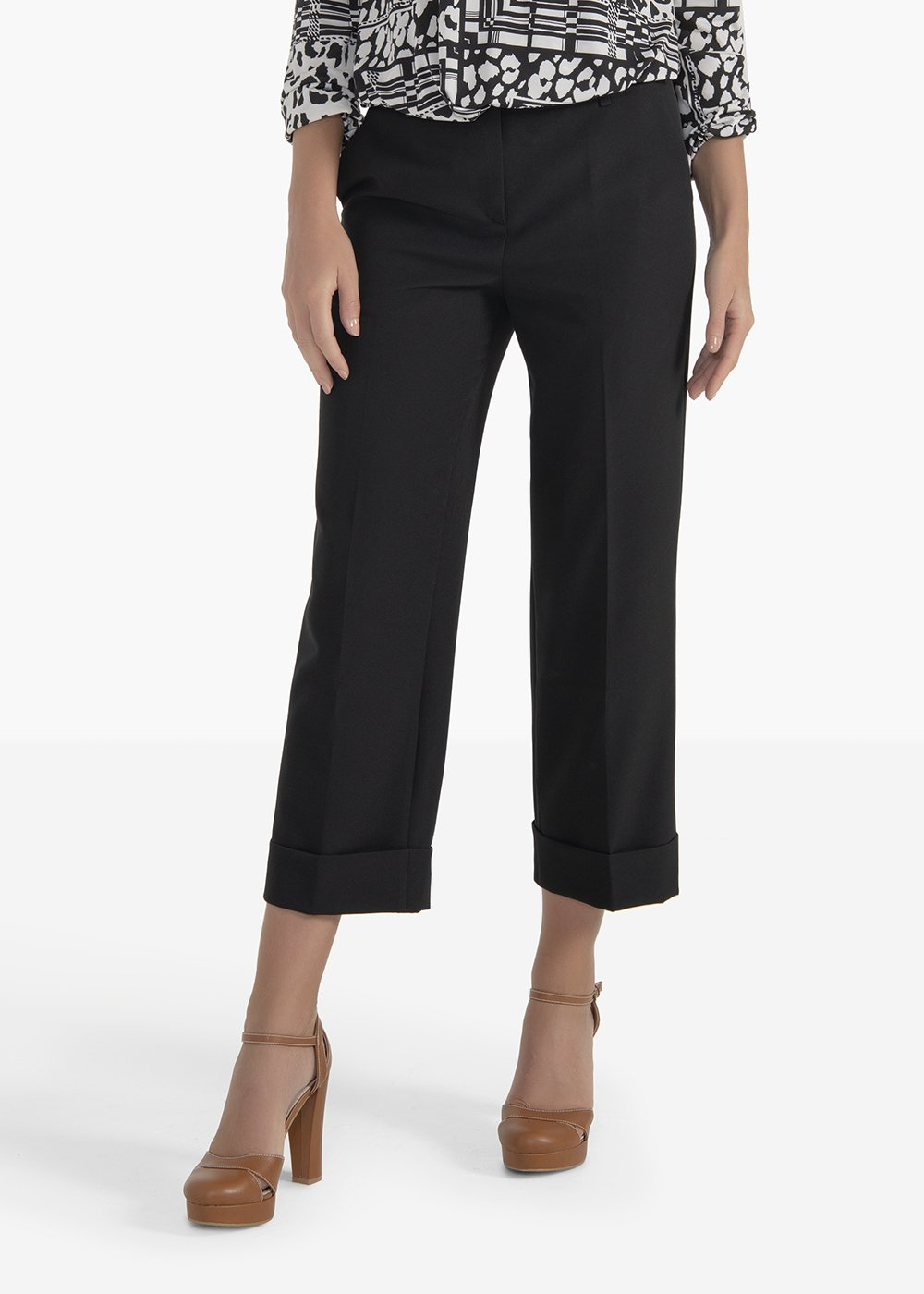 Sara pants in technical fabric with bottom flap - Black - Woman