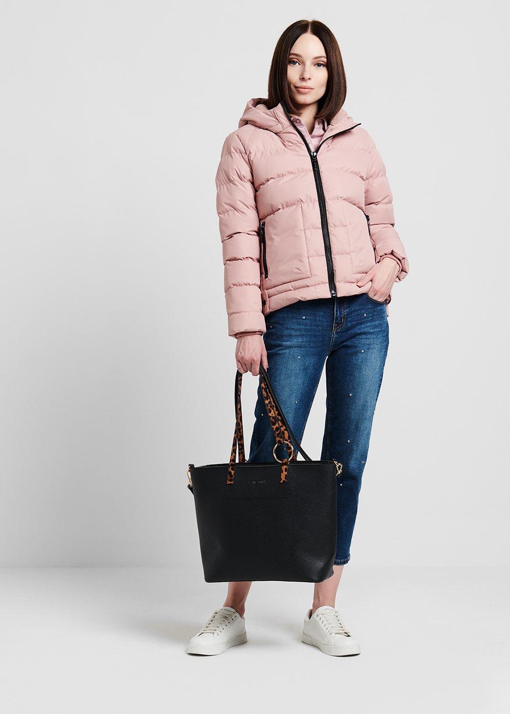 Shopping bag with animal print handle - Black - Woman