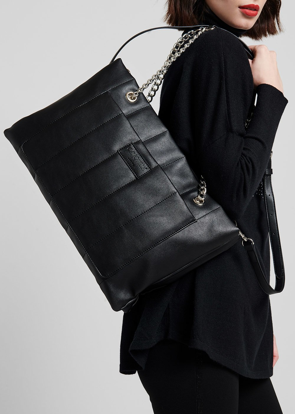 Shopping Bag Bandy trapuntata - Black - Donna