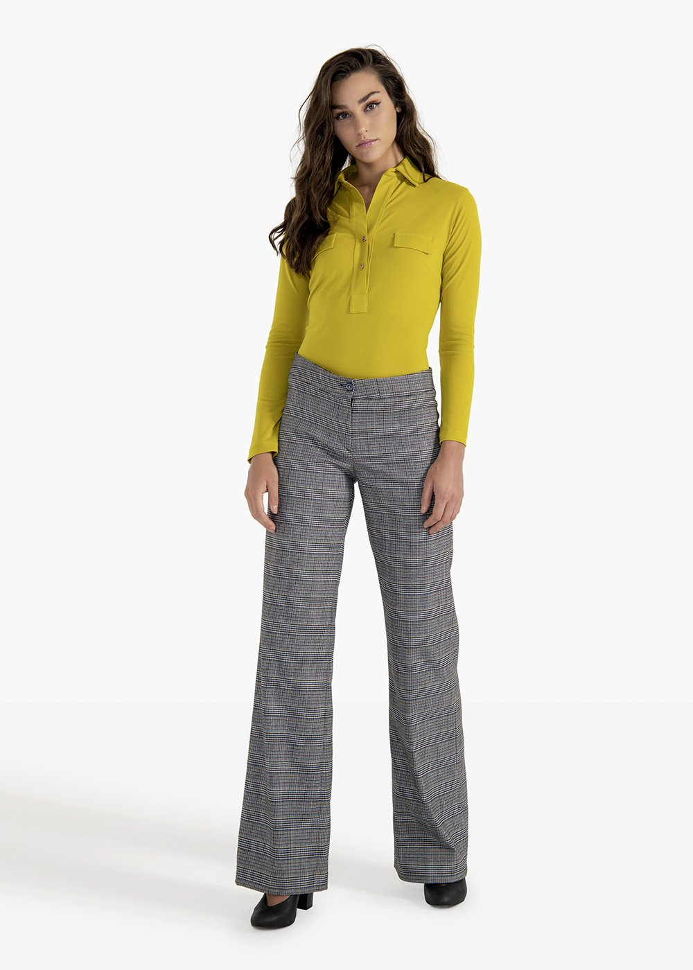 Ashley trousers in check patterned poly fabric