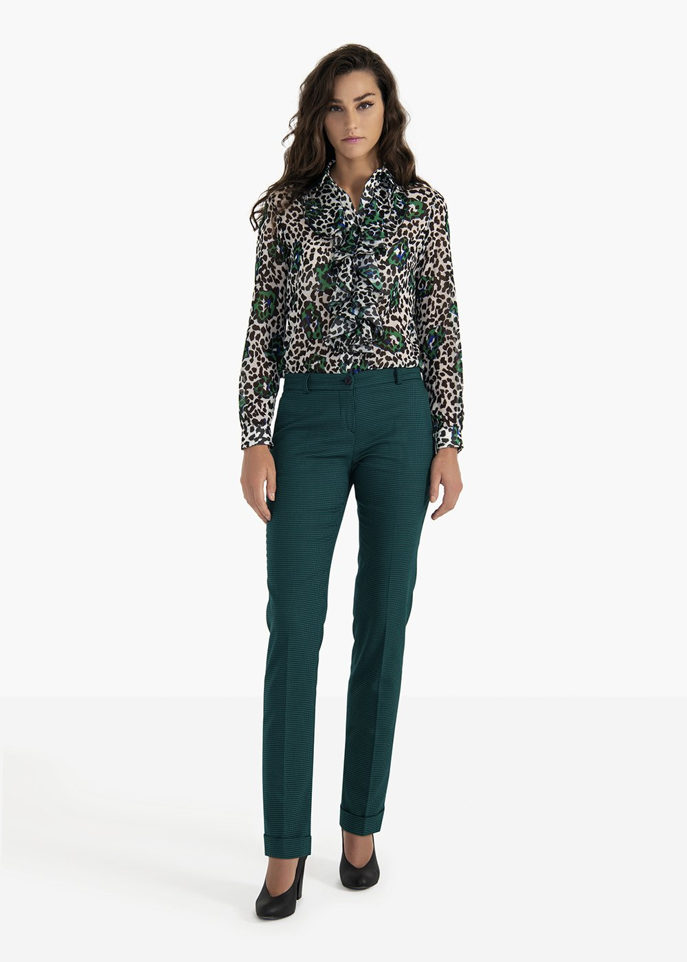 Bella trousers in poly-viscose fabric with micro pied de poule pattern - Amazon  / Blue Fantasia - Woman