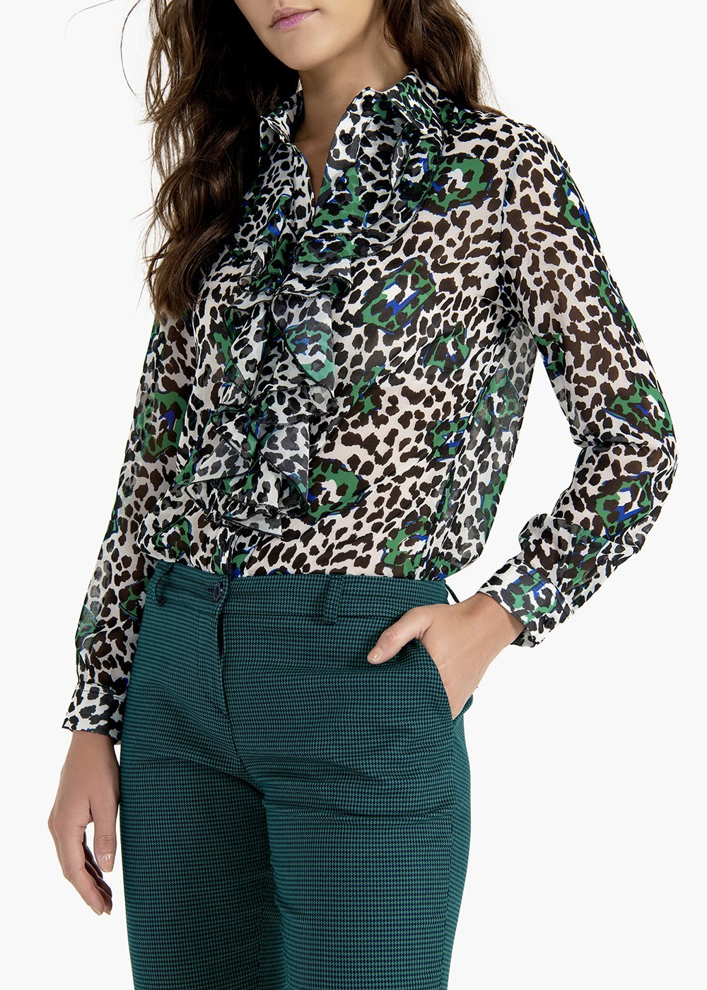 Camelia shirt with collar and ruffle at the neck - White / Black Animalier - Woman