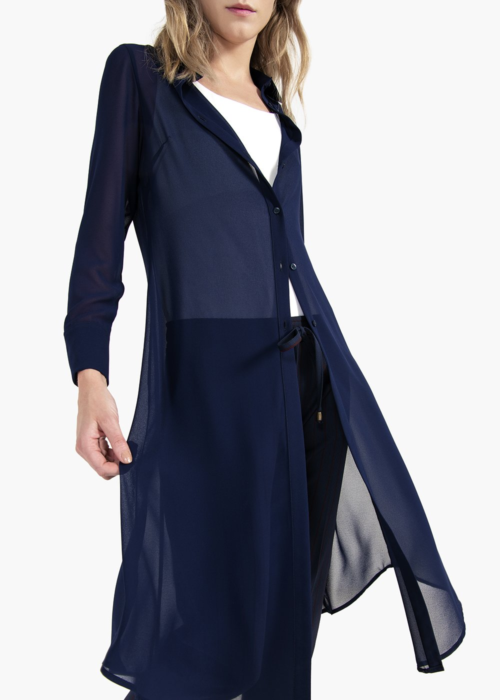 Cristina chemisier in georgette with collar - Blue - Woman