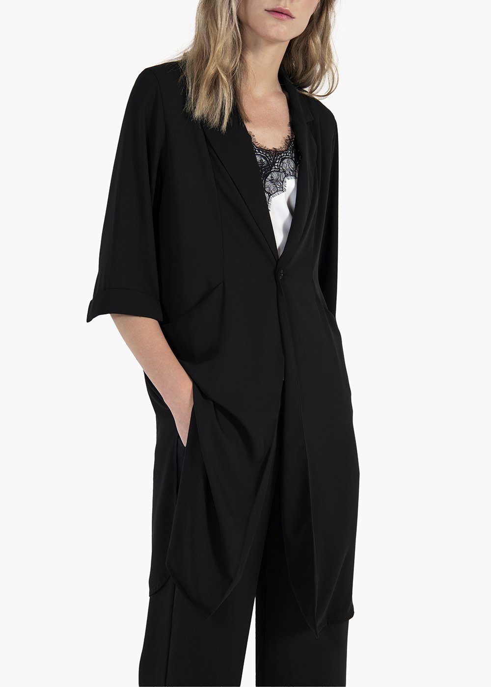 Clizia chemisier with single button and pockets - Black - Woman