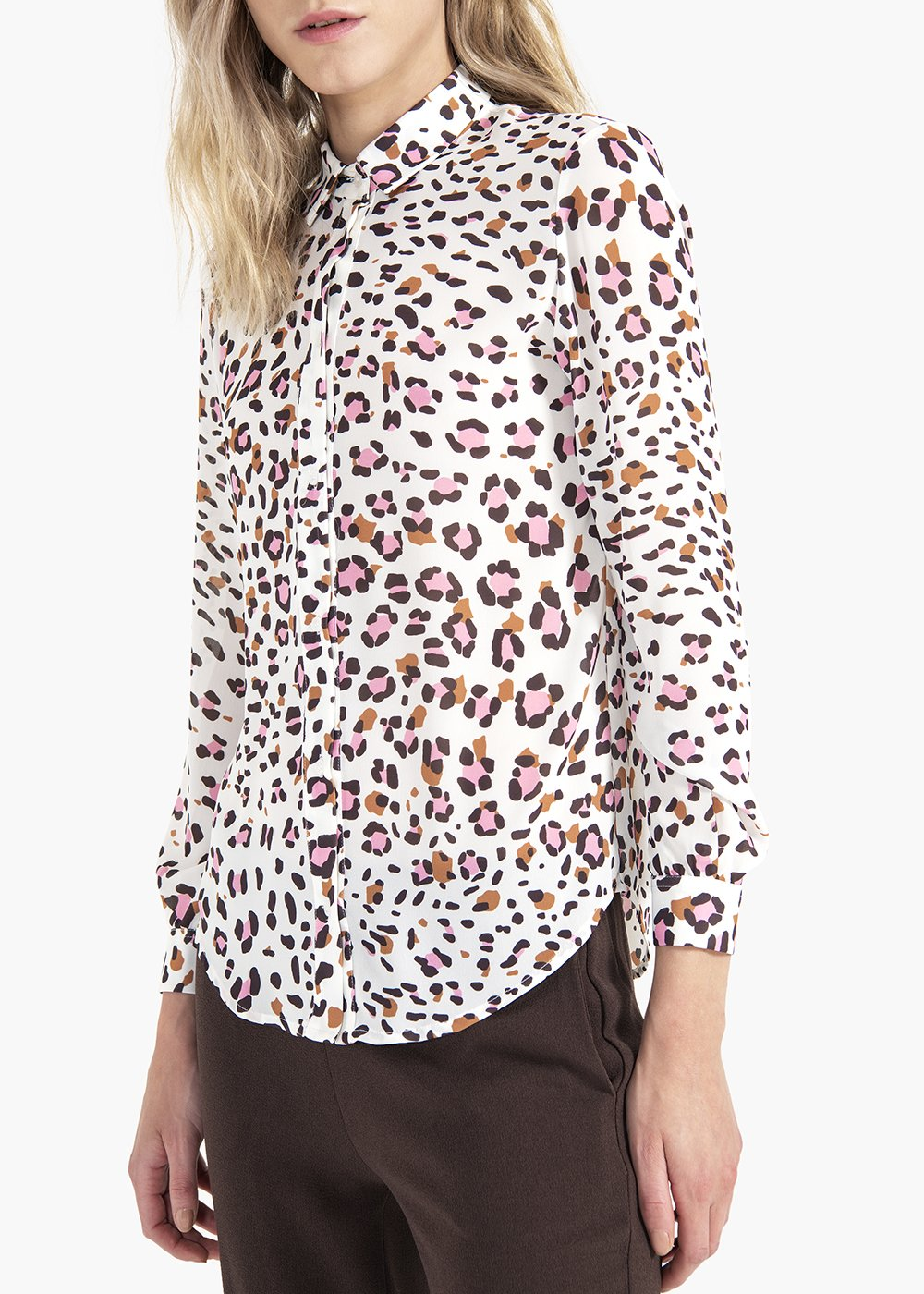 Alessia blouse with collar and spotted print - White / Candy Animalier - Woman