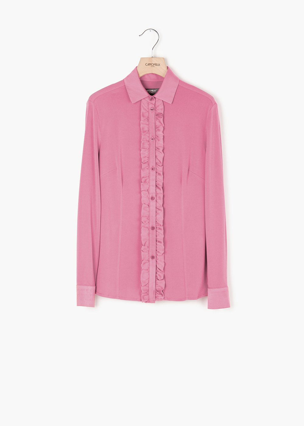 Samuela blouse with satin effect with crepe collar - Candy - Woman