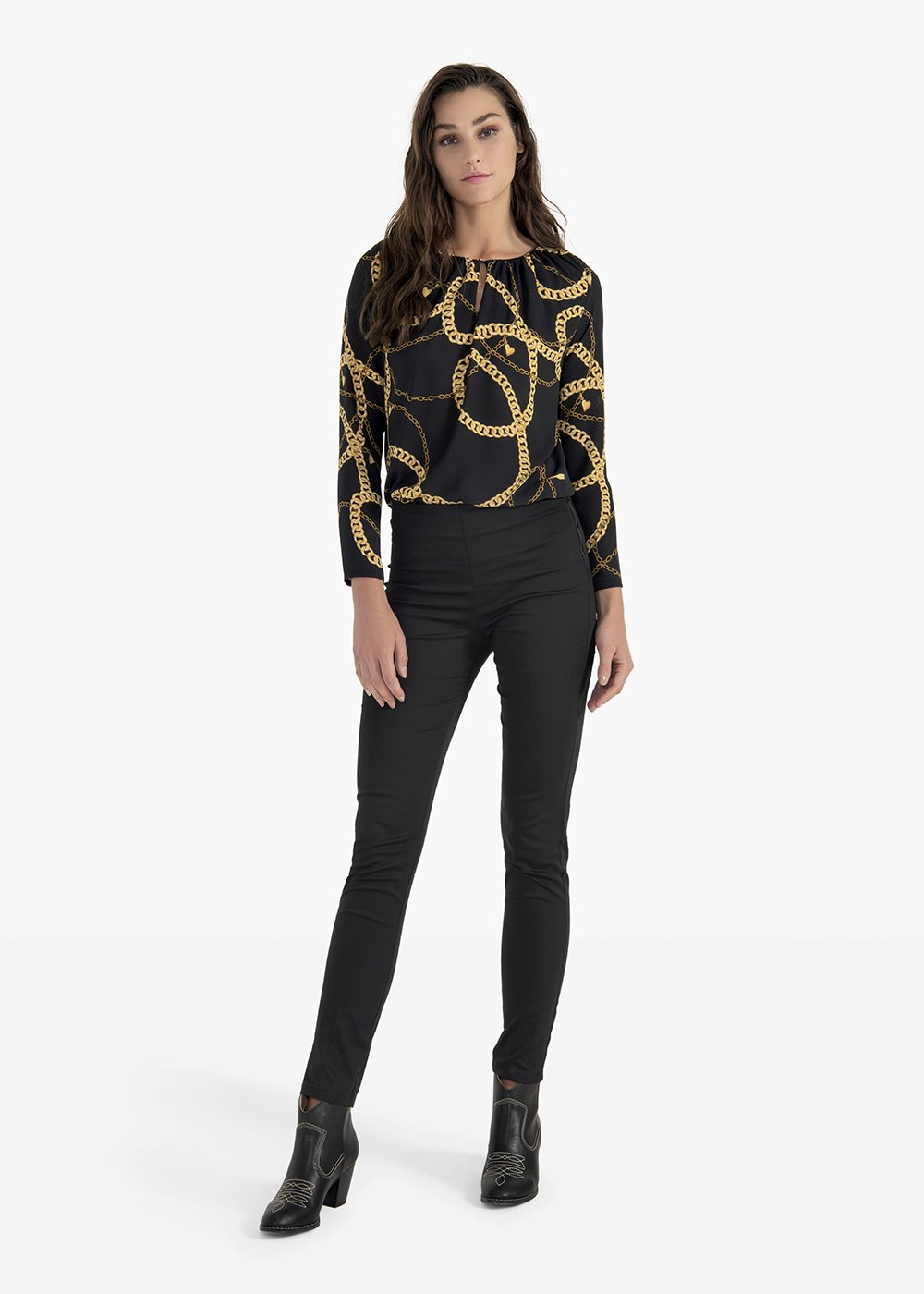 Susan T-shirt in double georgette with V-neck - Black / Miele Fantasia - Woman