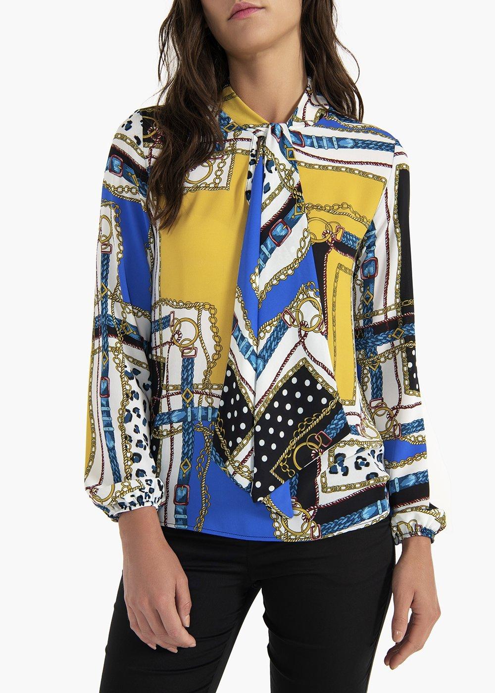 Sandie georgette blouse with scarf neckline - Medium Blue\ White\ Fantasia - Woman