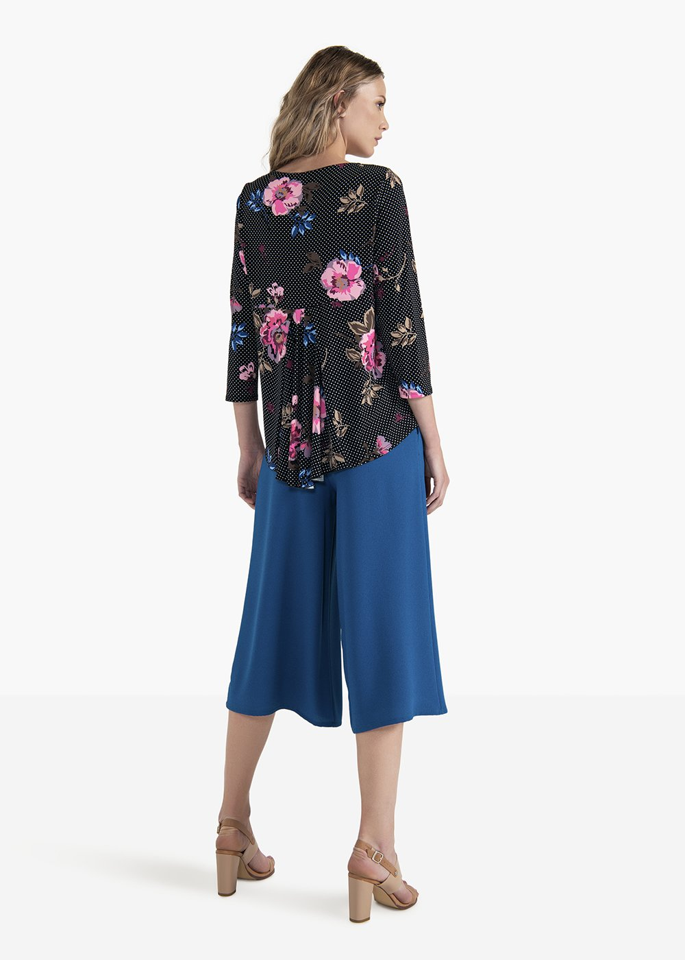 Samara long-sleeved T-shirt with boat neckline - Black / Candy Fantasia - Woman