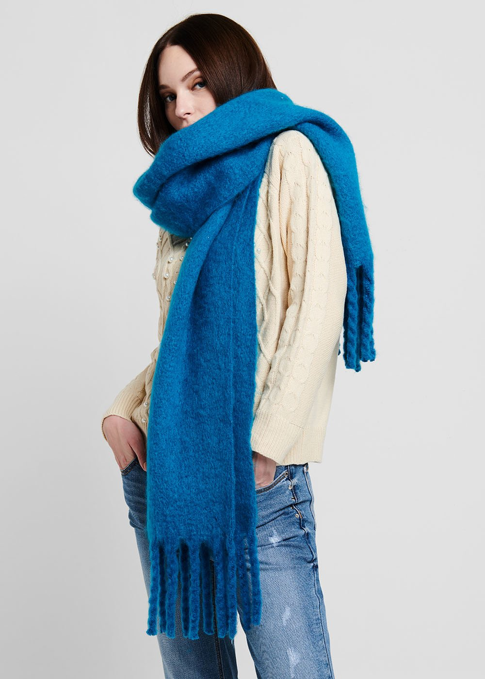 Maxi scarf in boiled wool with fringes - Blue - Woman