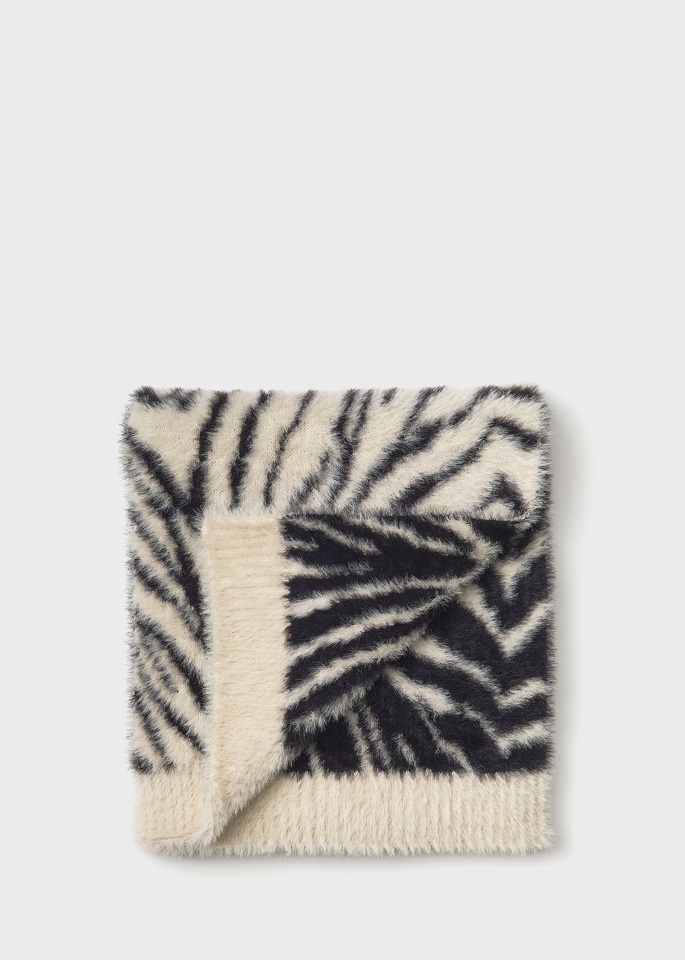 Maxi zebra print fur scarf - Black / White Fantasia - Woman