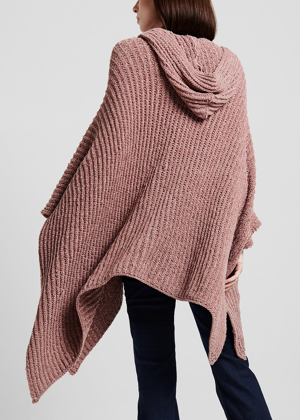 Cape with zipper and hood - Grey - Woman