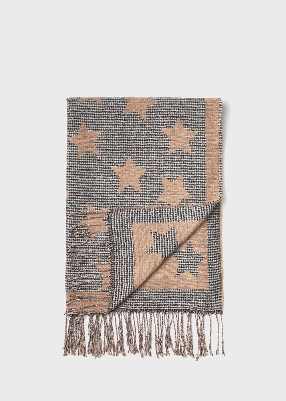 Powder-coloured maxi scarf with lurex stars