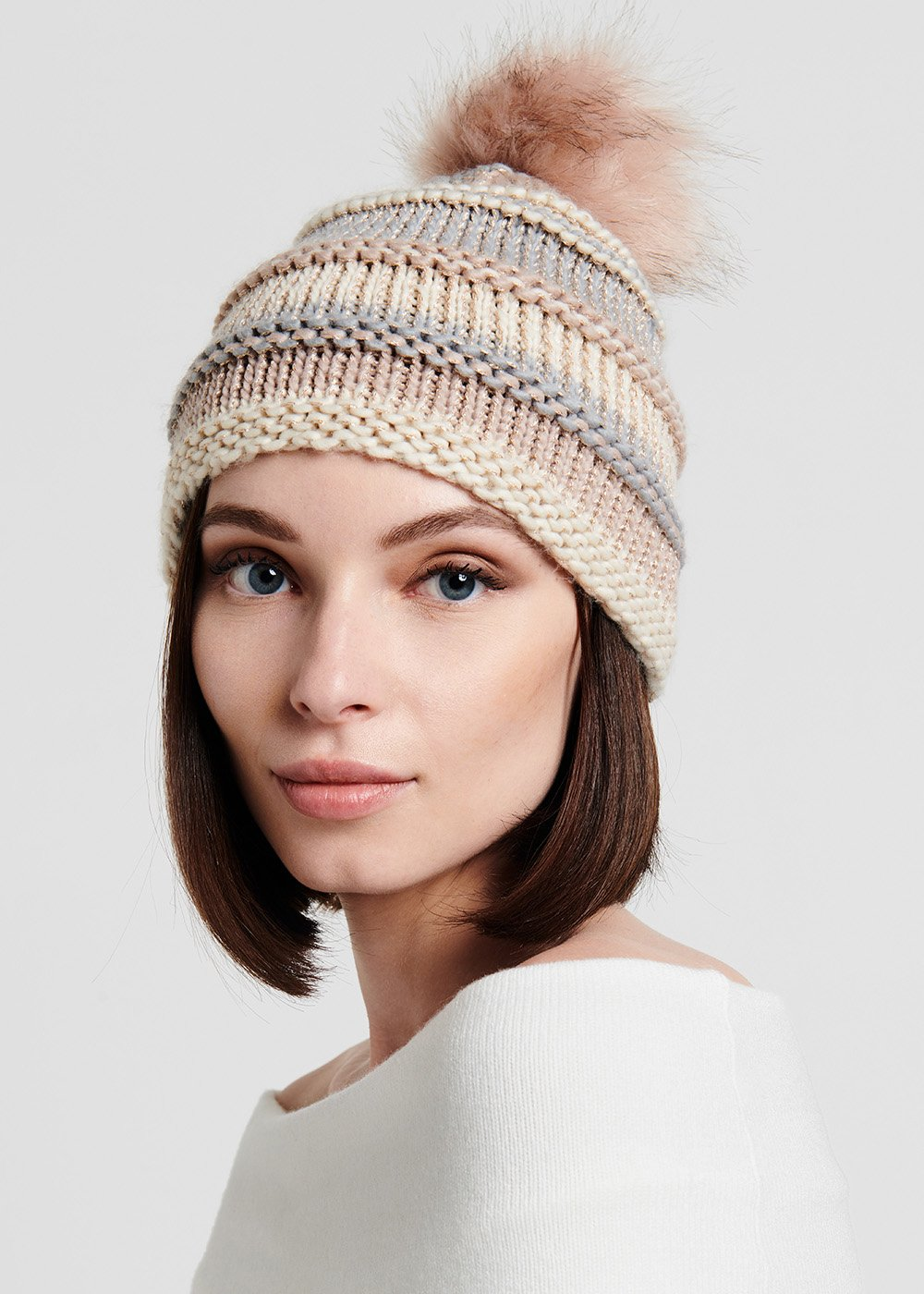 Cappello a righe con pon pon - Polvere Stripes - Donna