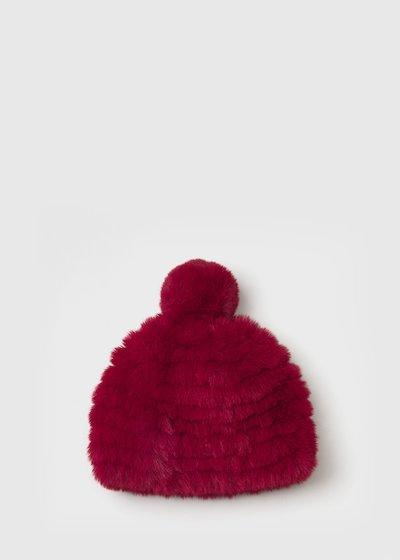 Carry faux-fur hat with pom-pom