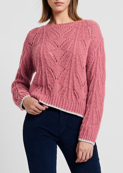 Floral-coloured wool sweater with contrast lurex edges