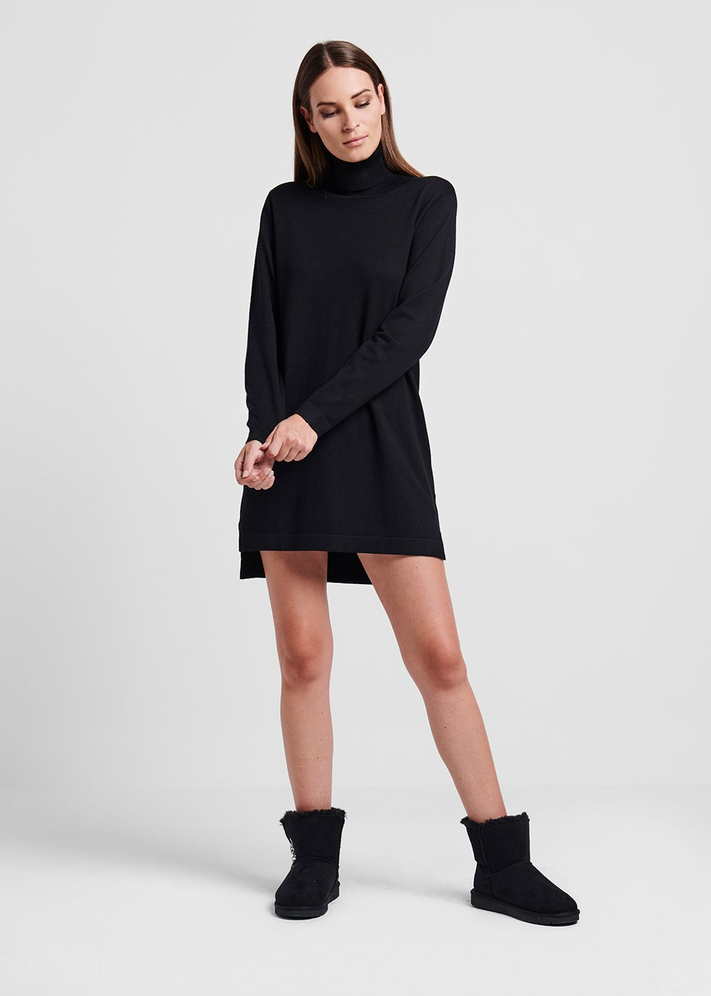 Bouclé viscose dress - Black - Woman