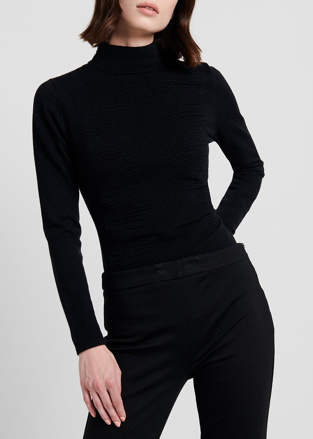 Turtleneck narrow-ribbed sweater - Black - Woman