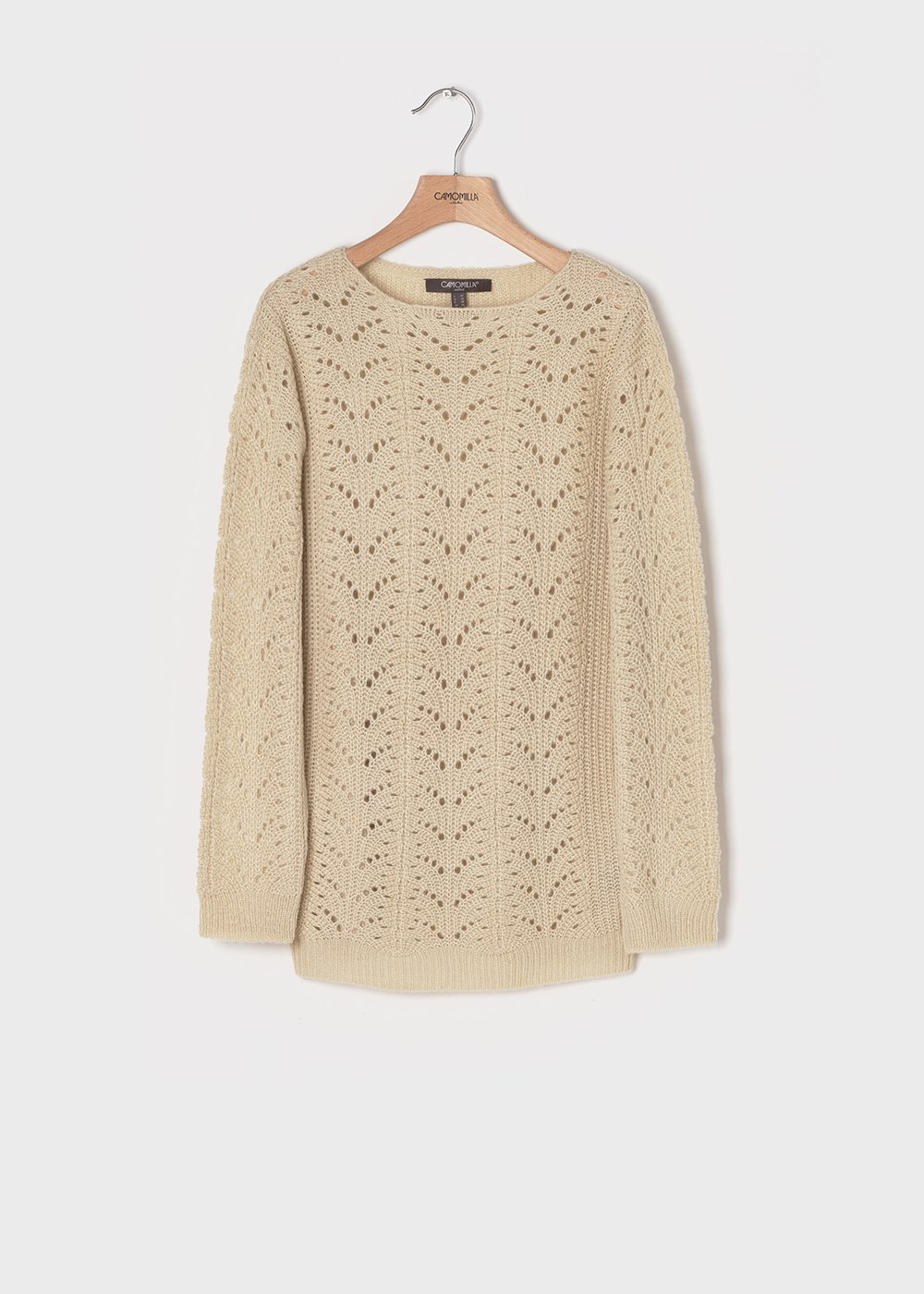 Fog-coloured sweater with openwork motifs - White - Woman