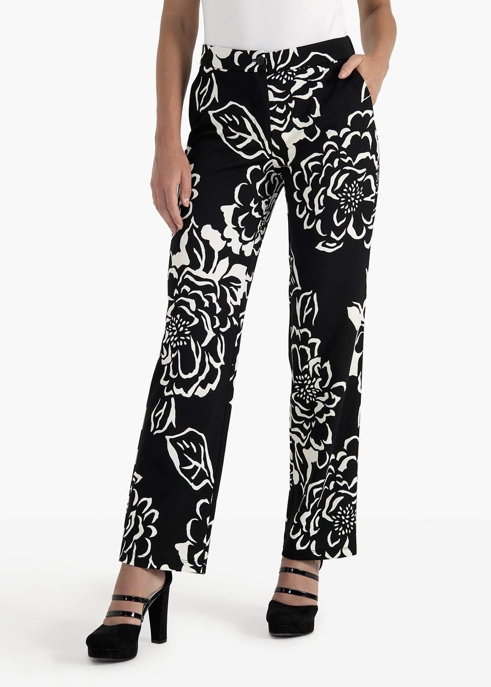 Pako palazzo pants in crepe with men's pockets - Black / White Fantasia - Woman