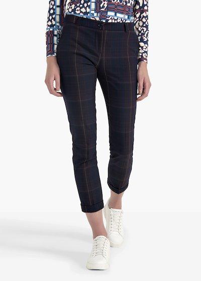 Pantaloni Bella in poliviscosa a quadri con risvolti al fondo gamba