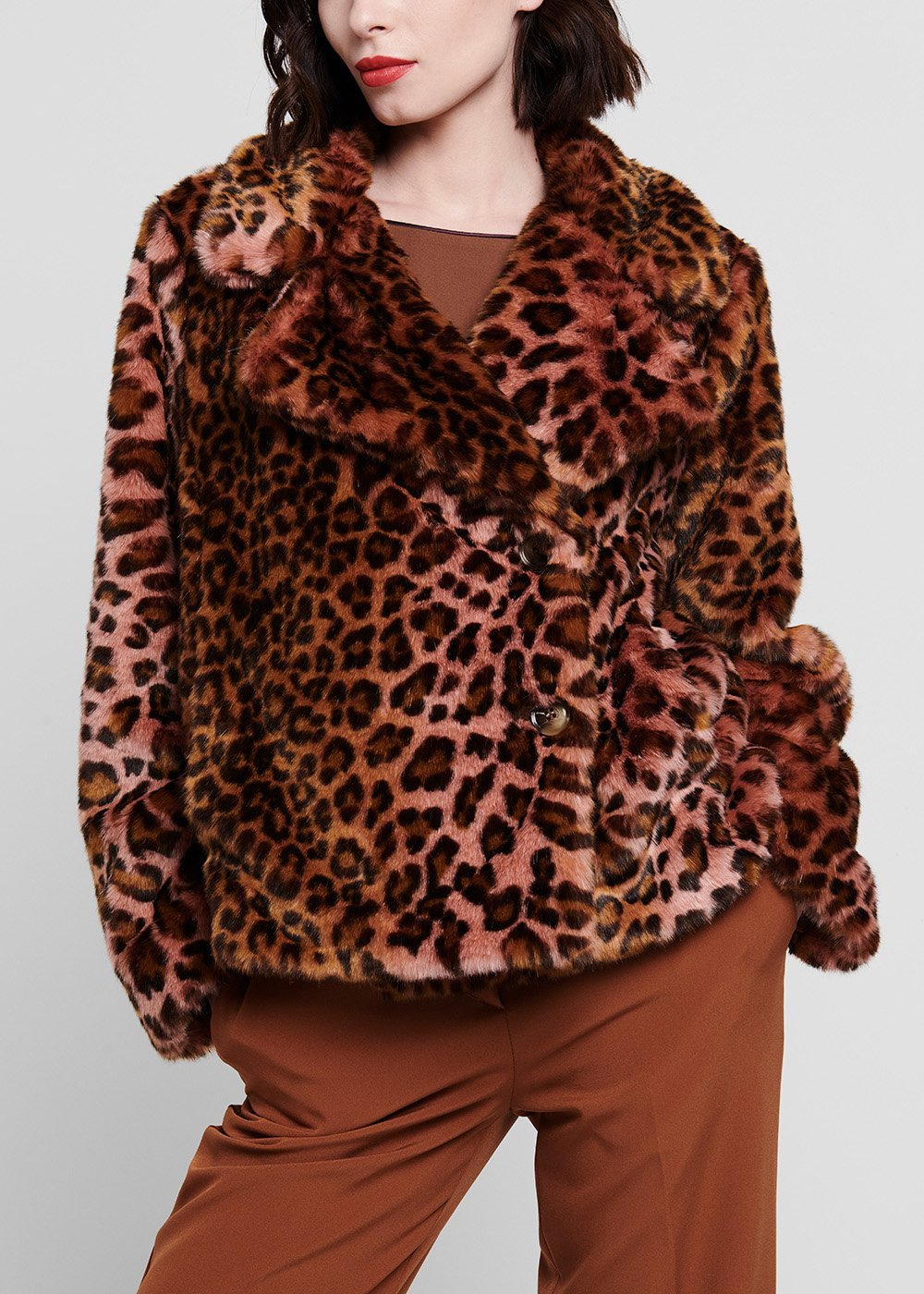 Spotted faux - fur coat with double-breasted lapel - Suolo / Candy / Animalier - Woman