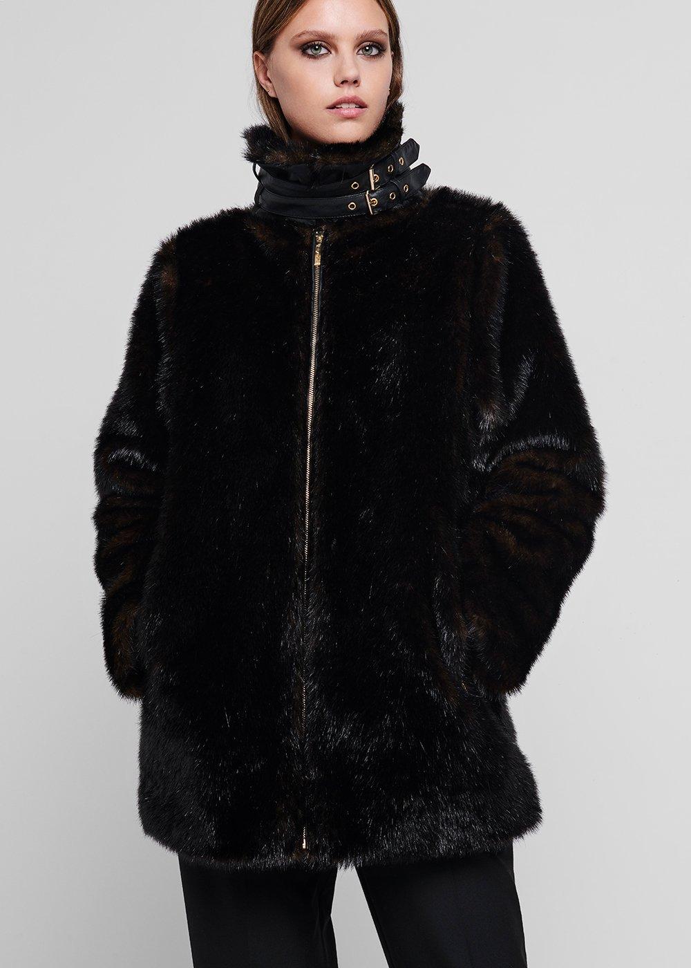 Beaver - effect faux fur coat - Black - Woman