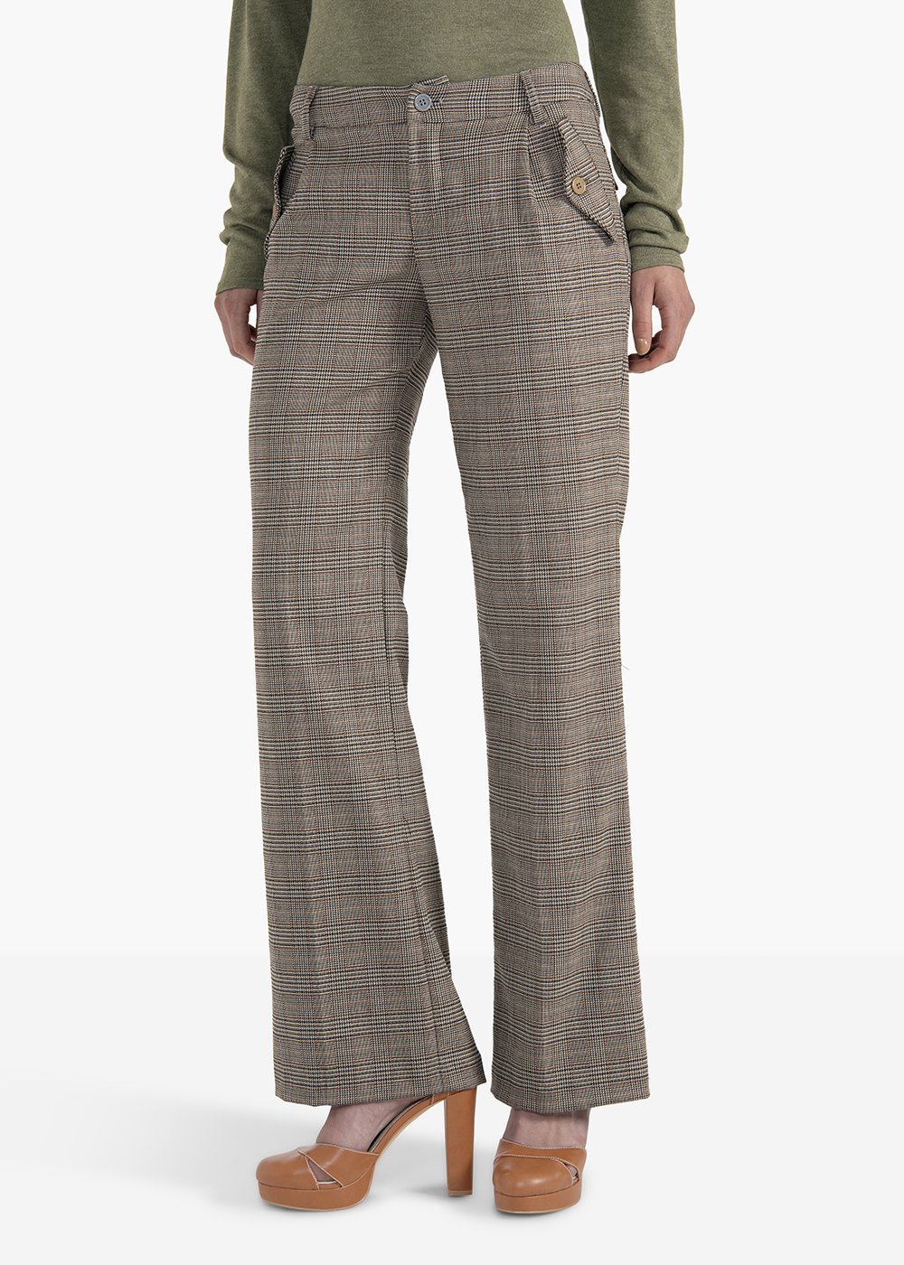 Pantaloni Poly in poliviscosa fantasia check modello Ashley - Beige / Marrone Fantasia - Donna