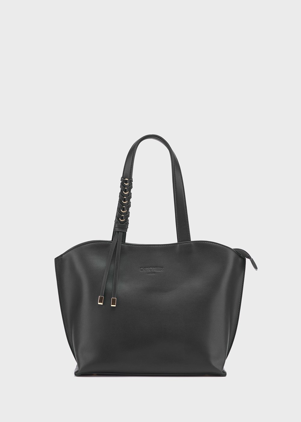 Belen faux-leather shopping bag - Black - Woman