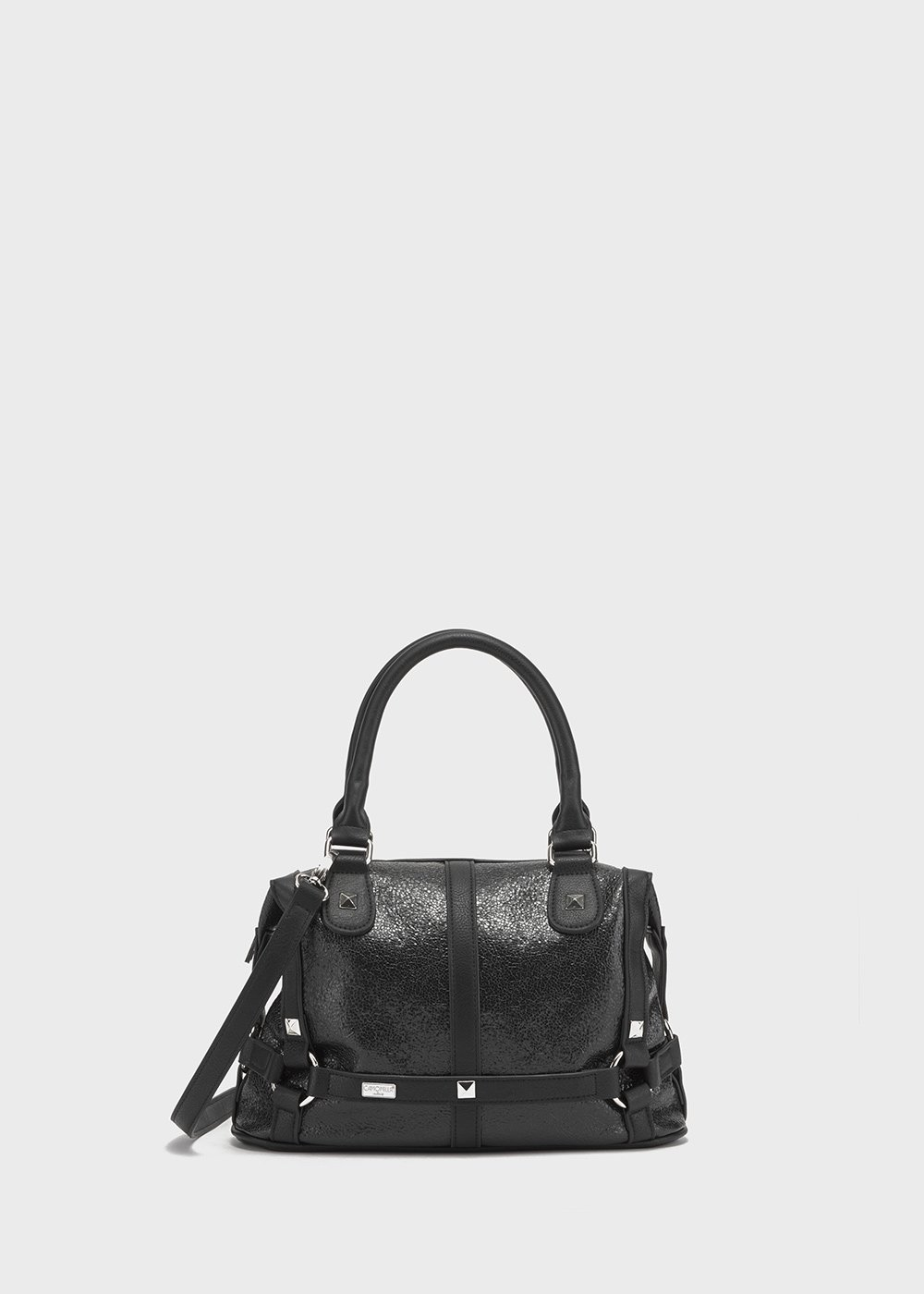 Crackle faux-leather Bammy bowler bag - Black - Woman