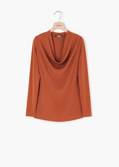 Laura long-sleeved T-shirt with hood neckline