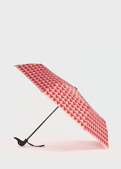 Umbrella with duck handle with hearts pattern