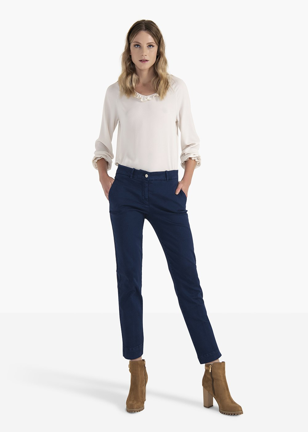 Alice cotton trousers with men's pockets - Medium Blue - Woman