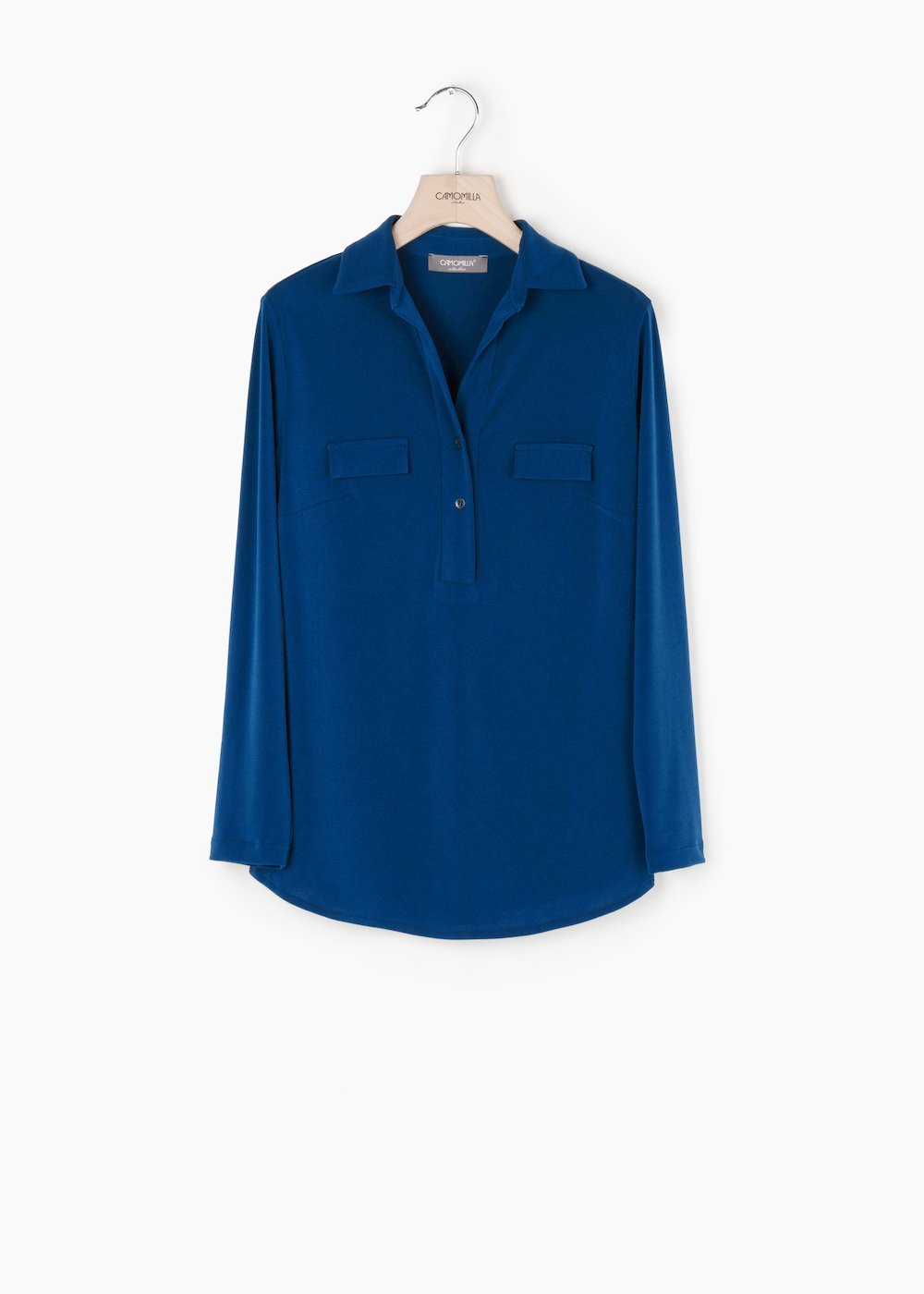 Paola crêpe t-shirt with shirt collar - Medium Blue - Woman