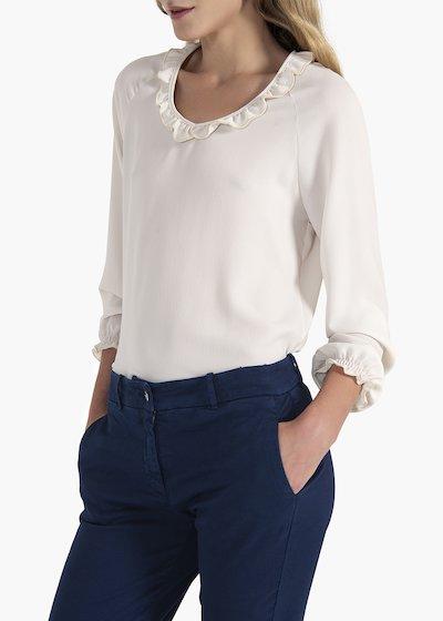 T-shirt Sabina con scollo tondo e rouches
