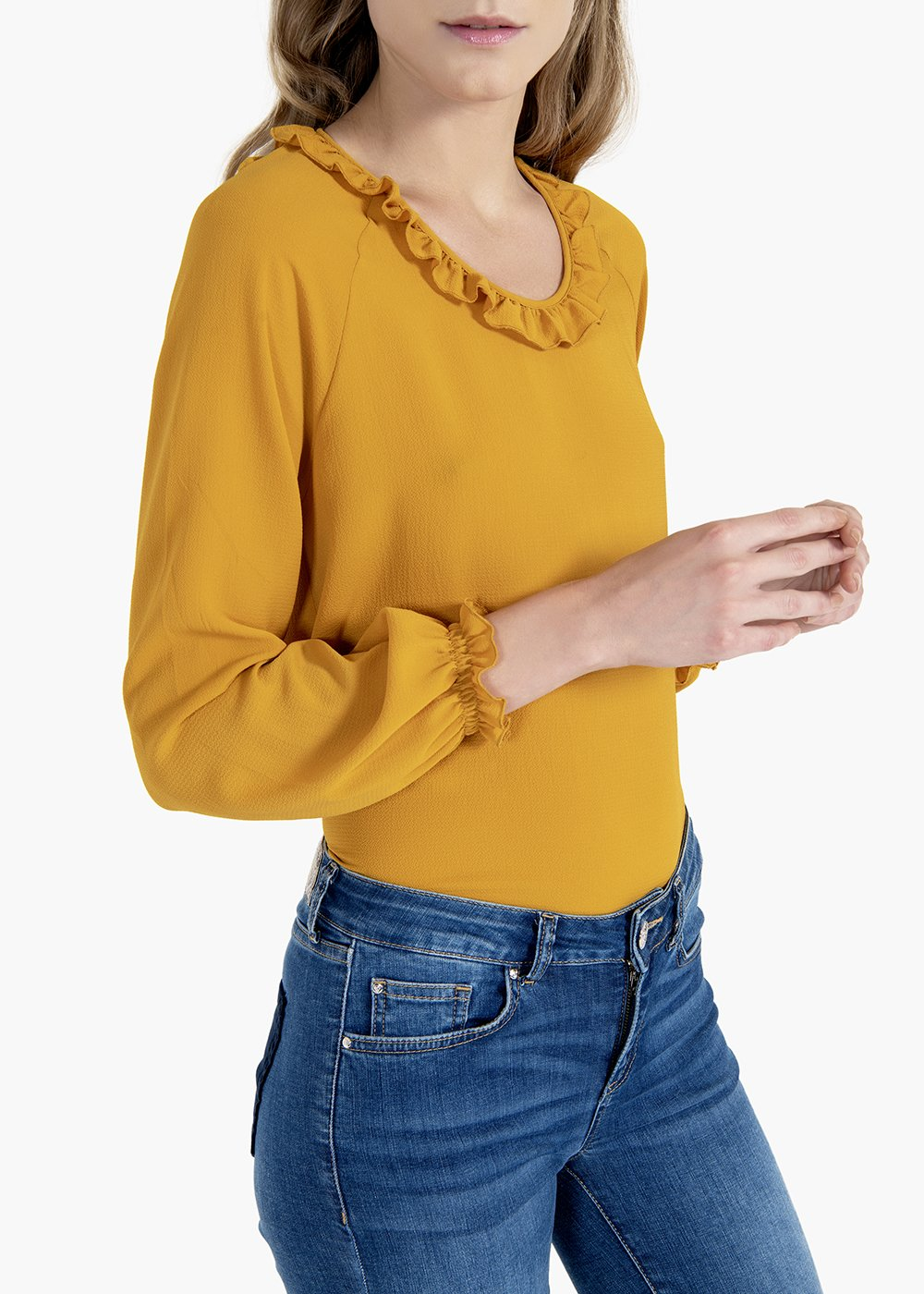 Sabina T-shirt with round neckline and rouches - Mais - Woman