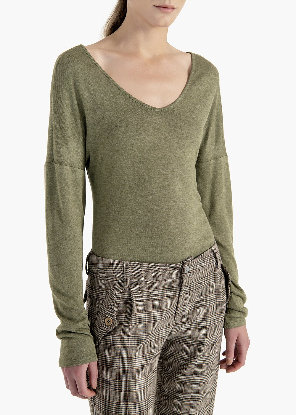 Sweater Marylin in concrete-colored viscose