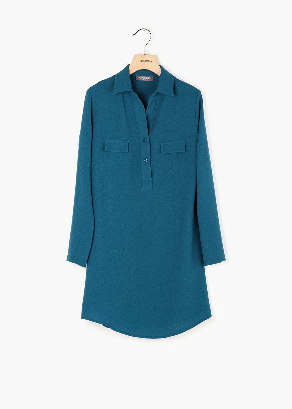 Paola crêpe t-shirt with flaps on the front - Blue - Woman