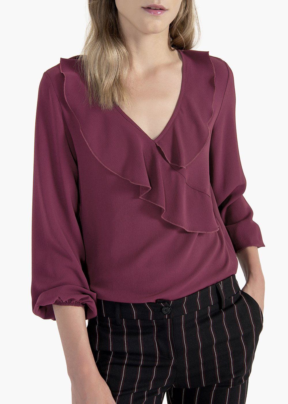 Carmen crêpe t-shirt with puff sleeves - Black cherry - Woman