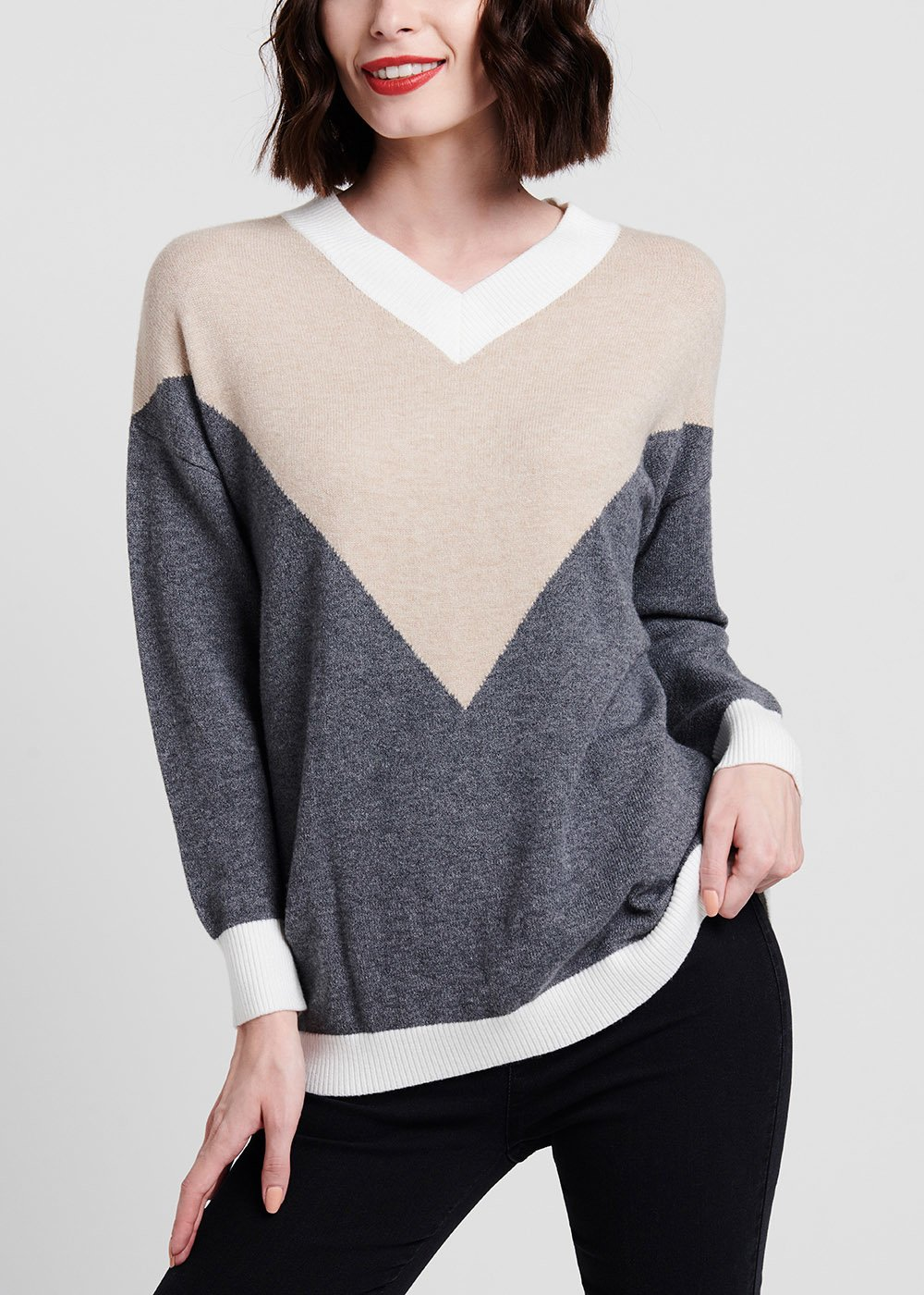 V-neck viscose sweater - Light Grey / Light Beige / White - Woman