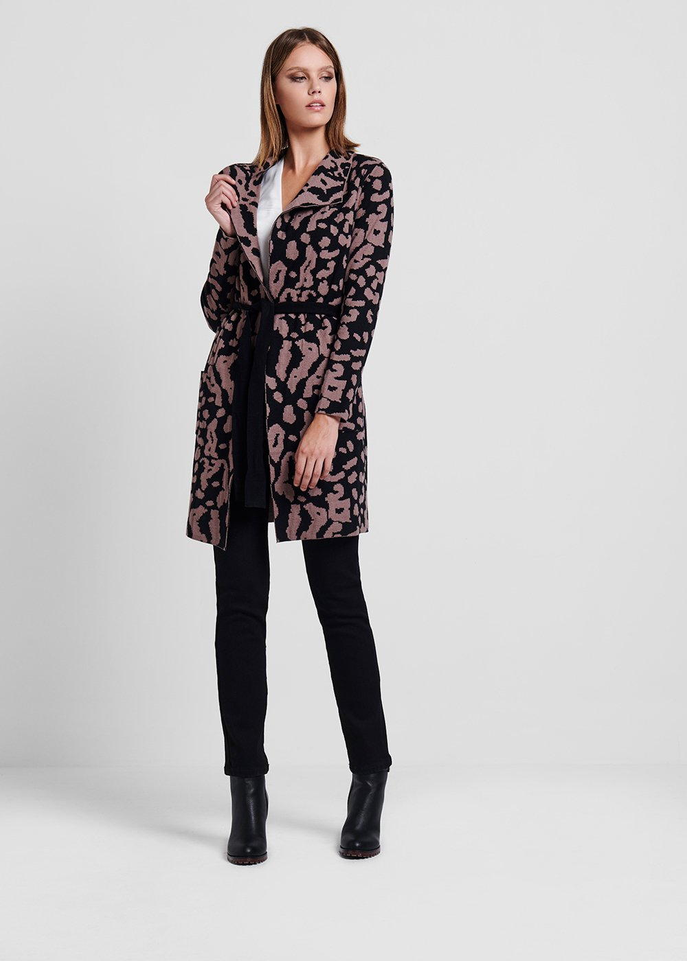Spotted - print jacquard knit cardigan - Suolo / Black Animalier - Woman