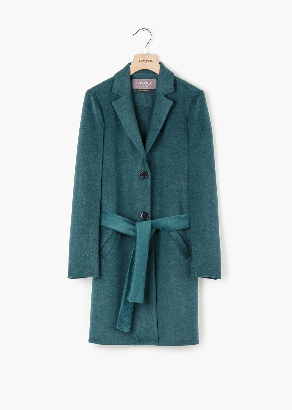 Connor coat in viscose cloth with belt - Blue - Woman