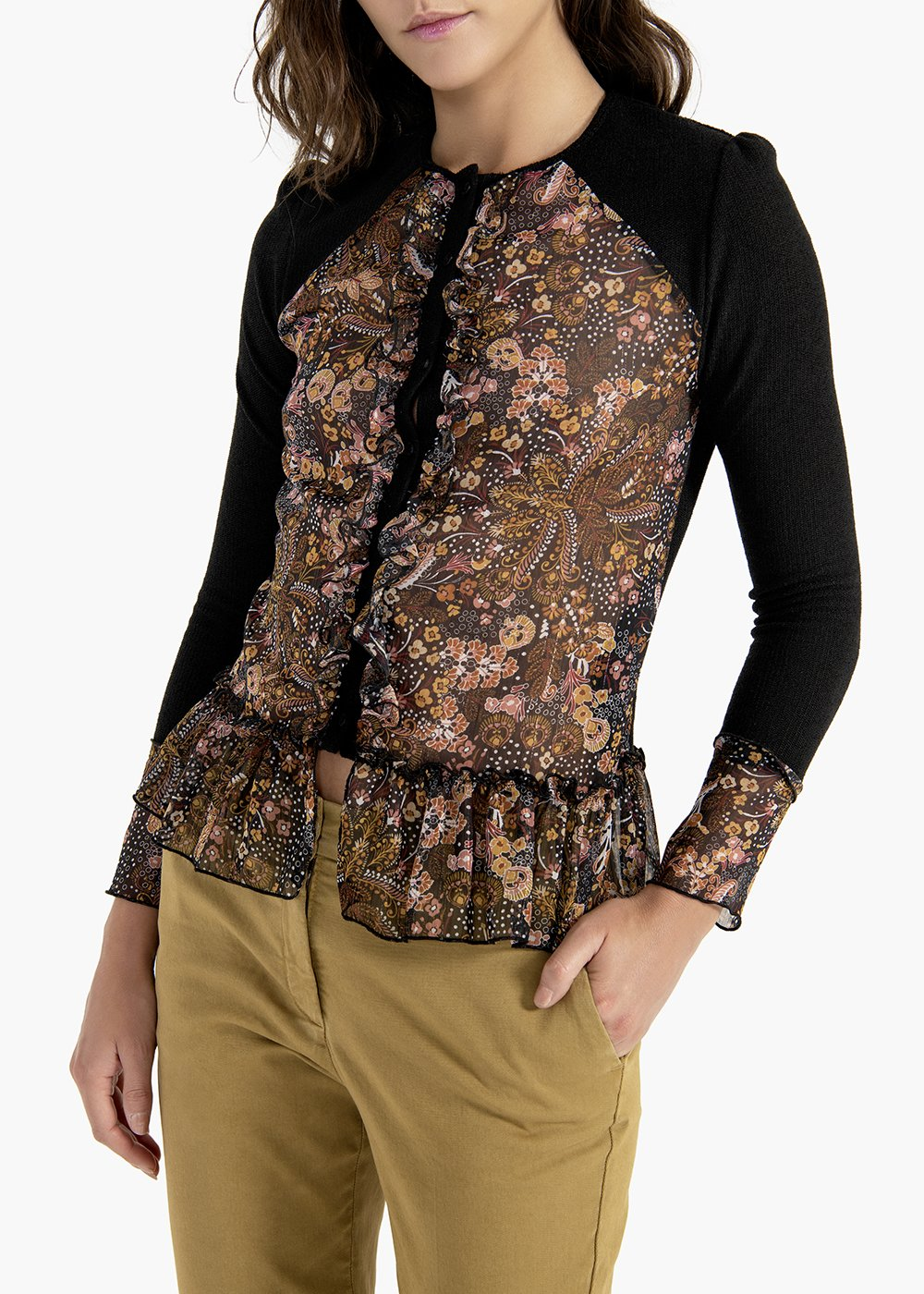 Clio cashmere and floral print cardigan - Black / Miele Fantasia - Woman