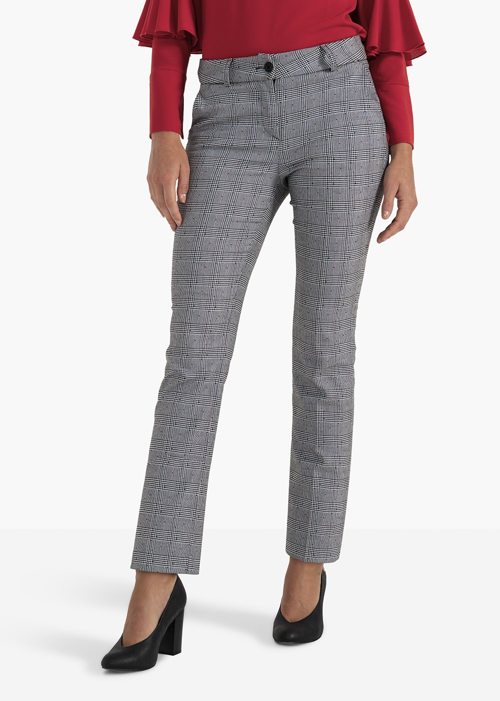 Paddy trousers in check fabric with micro dots - White / Black Fantasia - Woman
