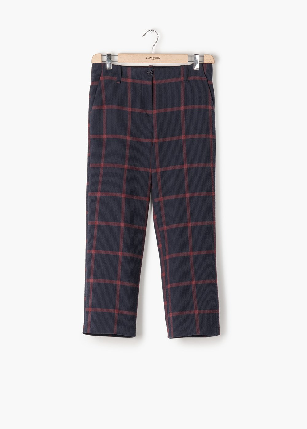 Paolo trousers in seesucker fabric in checked squares - Blue / Bordeaux Fantasia - Woman