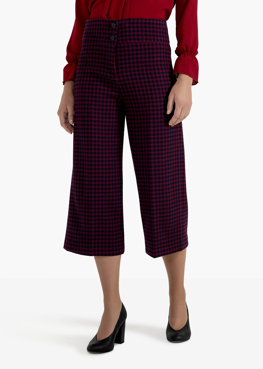 Piquet palazzo trousers with a short fit and a micro-check pattern - Bordeaux /  Blue Fantasia - Woman
