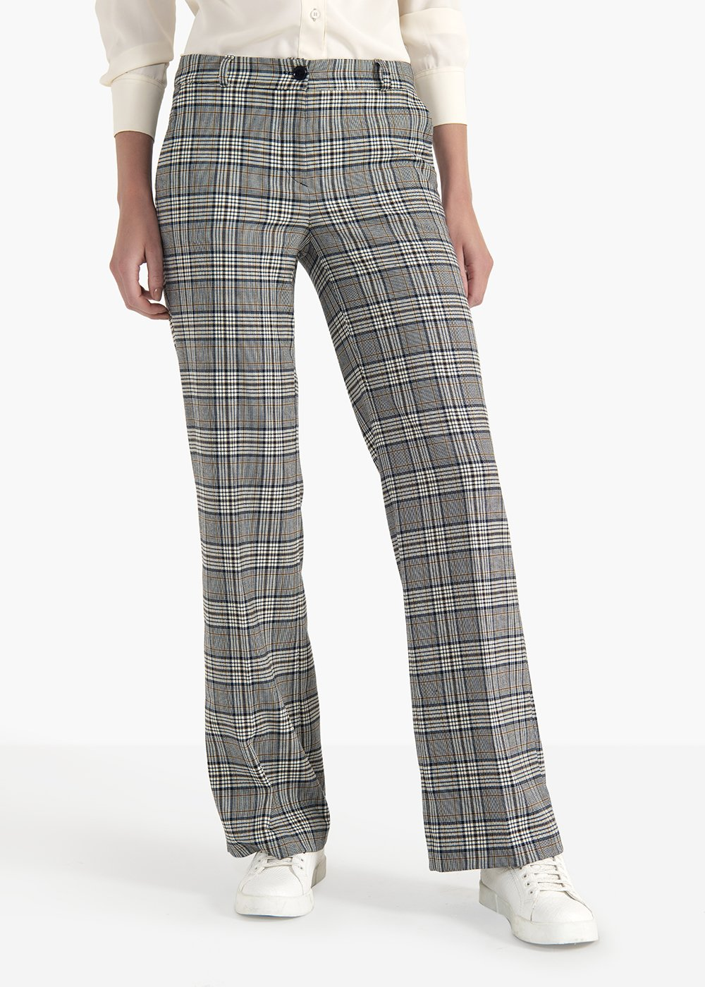 Pantaloni Clair modello Ashley in poliviscosa fantasia check - Grezzo /  Blue Fantasia - Donna