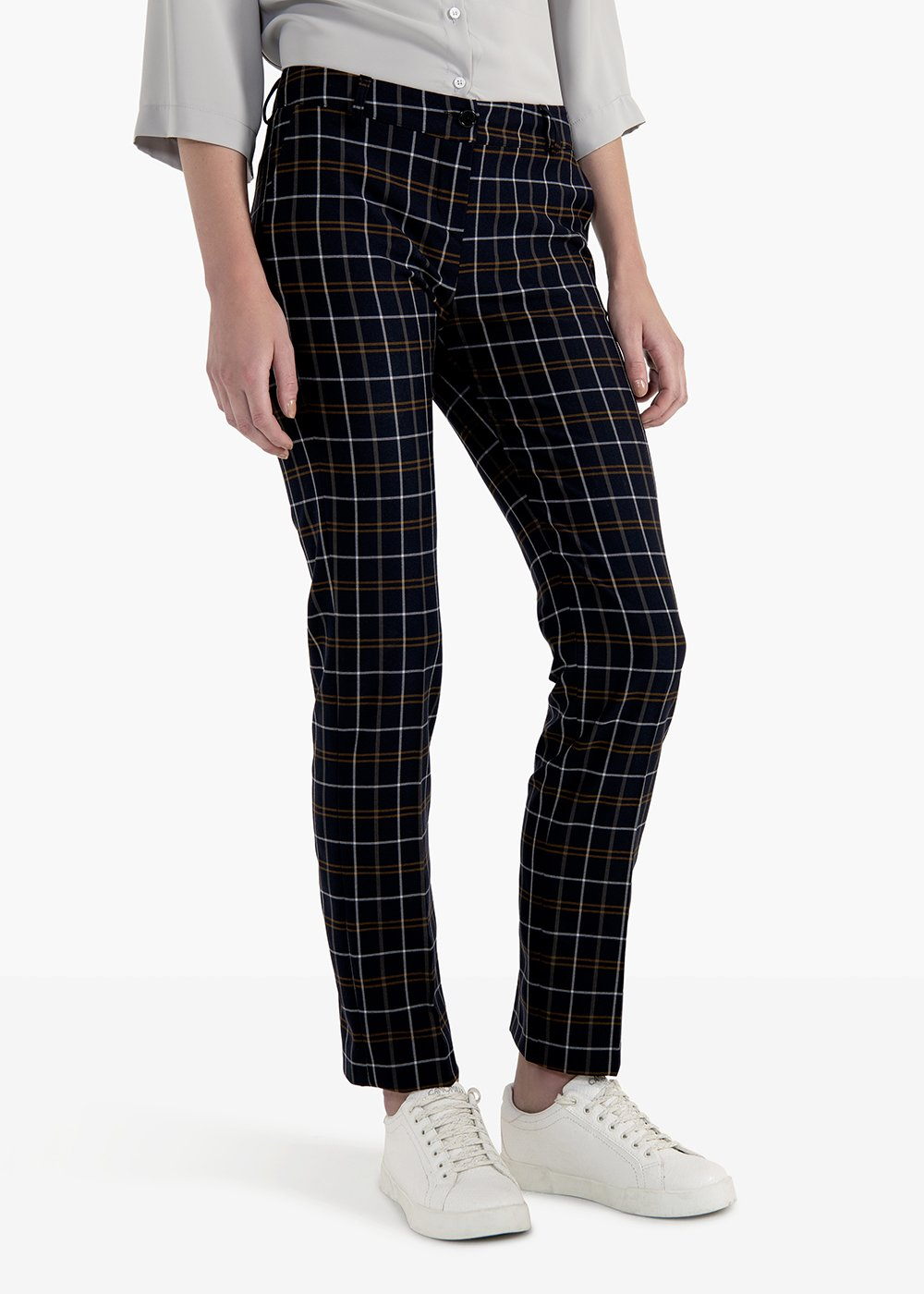 Clair trousers in check pattern polyvinol with men's pockets - Tobacco /  BlackFantasia - Woman