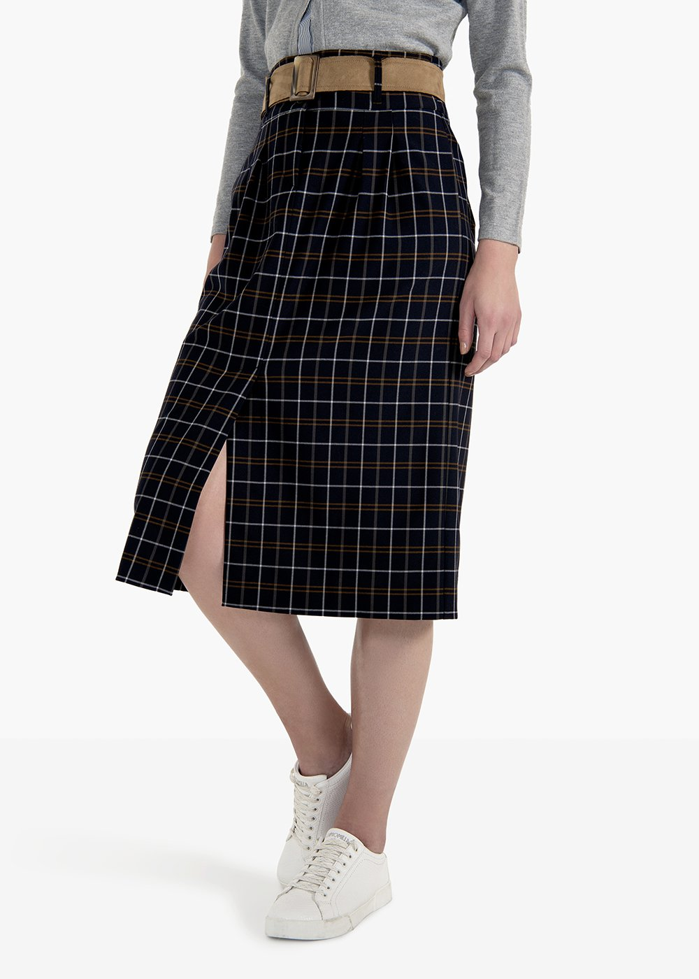 Gael skirt in A in polyviscose check pattern with belt - Tobacco /  BlackFantasia - Woman