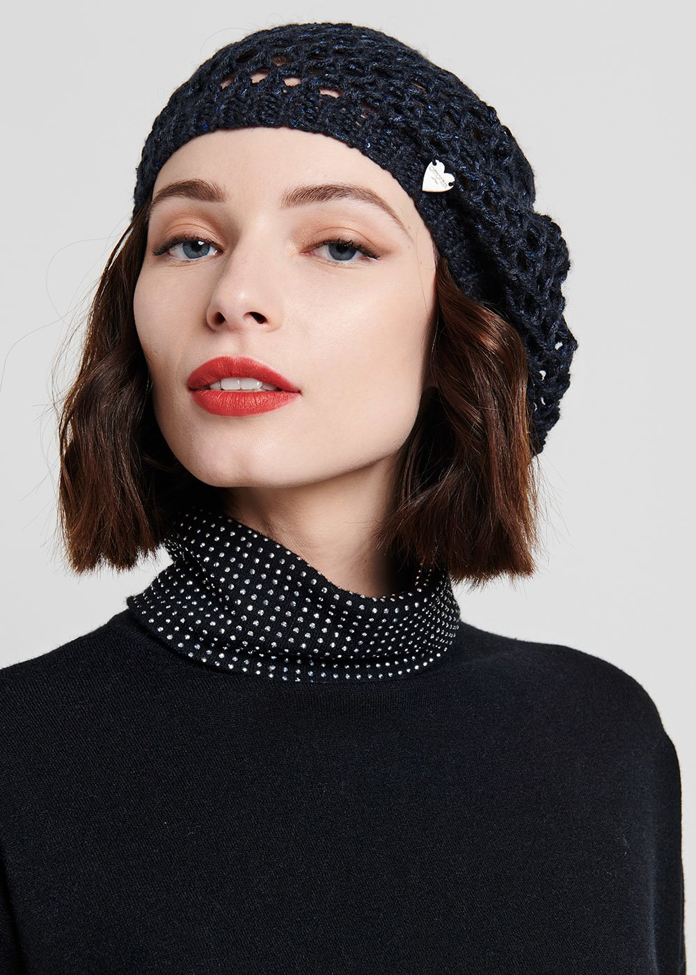 Black beret with net processing - Medium Blue - Woman